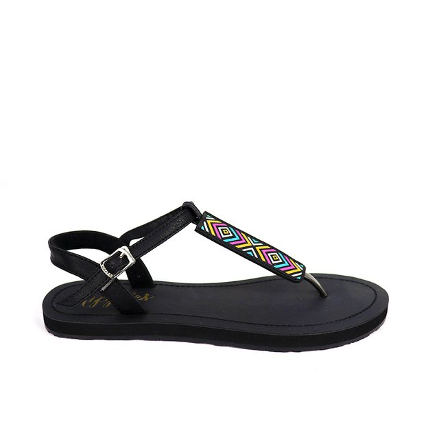 Rica Aztec Slide'N'Style T-Bar Sandals (Black)