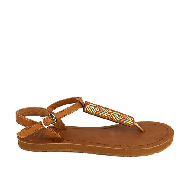 Rica Aztec Slide'N'Style T-Bar Sandals (Brown)