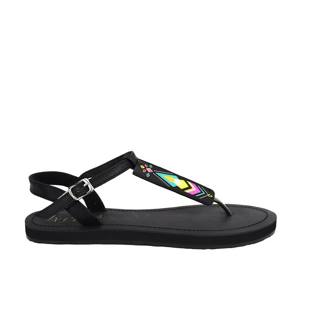 Elena Aztec Slide'N'Style T-Bar Sandals (Black)