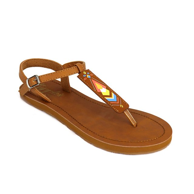 Elena Aztec Slide'N'Style T-Bar Sandals (Brown)