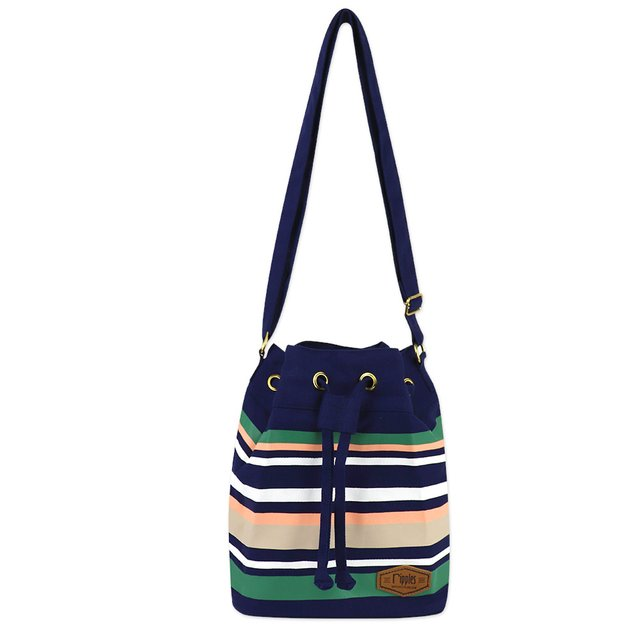 Lynette Stripes Bucket Sling Bag (Navy Blue)