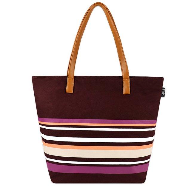 Lynette Stripes Tote Bag (Maroon)