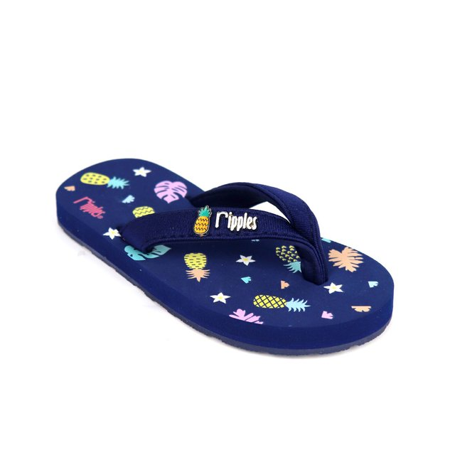 Pineapple Little Kids Flip Flops (Navy Blue)