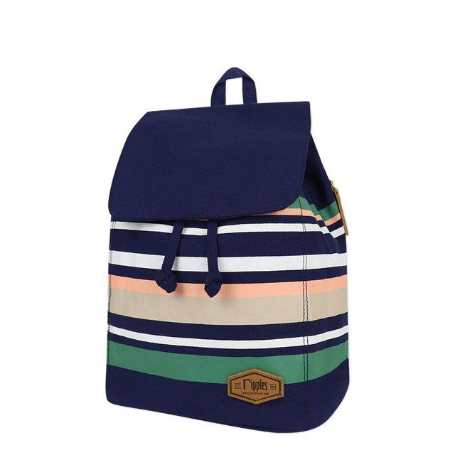 Lynette Stripes Canvas Ladies Backpack (Navy Blue)