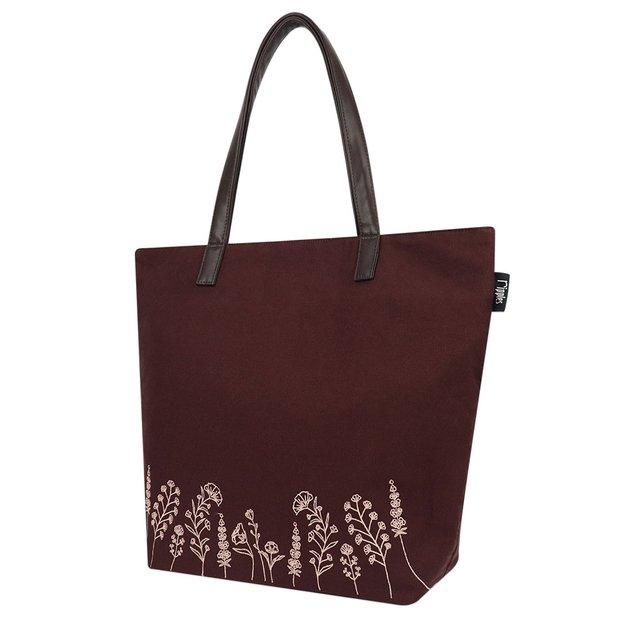 [PROMO] Estella Floral Embroidery Tote Bag (Maroon)