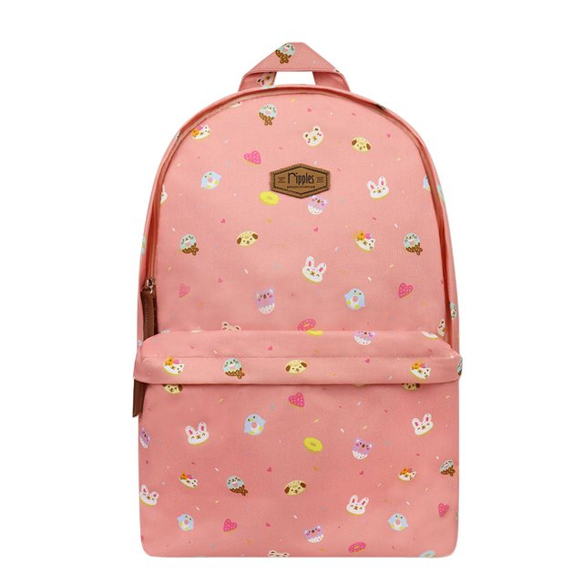 Animal Donuts Digital Print Backpack (Peach)