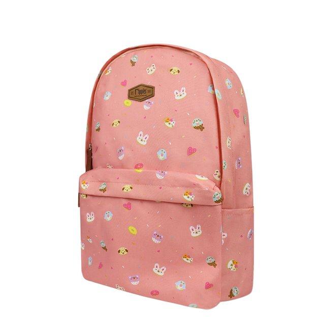 Animal Donuts Digital Print Backpack (Peach)