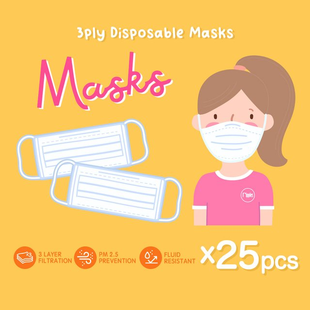 [25pcs] 3 Ply Disposable Face Mask