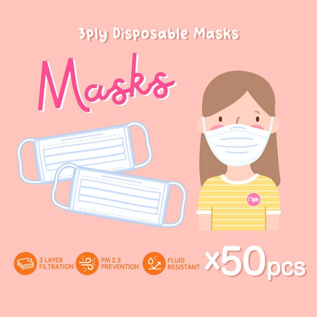 [50pcs] 3 Ply Disposable Face Mask