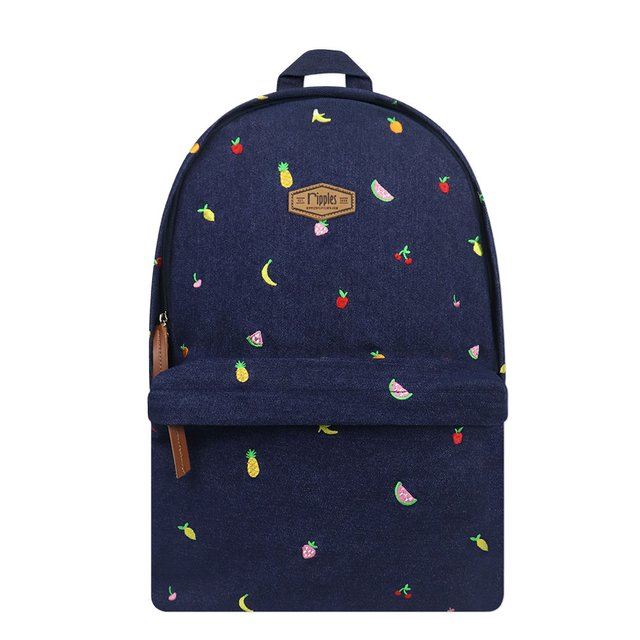 Tropical Fruits Embroidery Denim Backpack (Dark Wash)