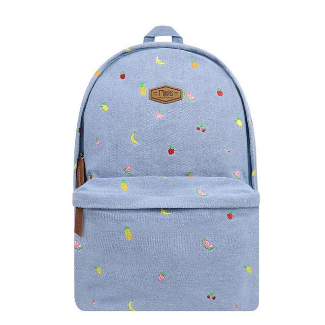 Tropical Fruits Embroidery Denim Backpack (Light Wash)