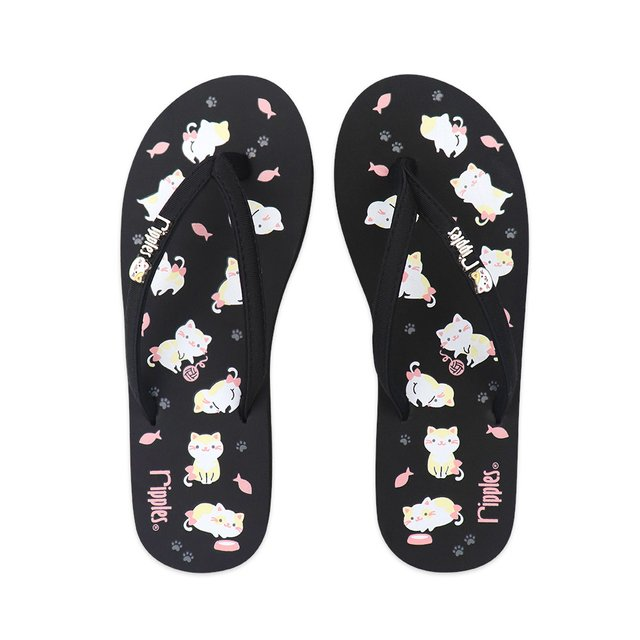 Kittens Ladies Flip Flops (Black)