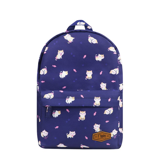 Kitten Mid Sized Kids School Backpack (Navy Blue)