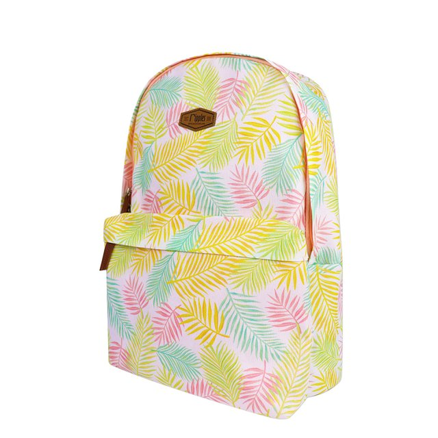Tropical Leaves Digital Print Backpack (Peach)