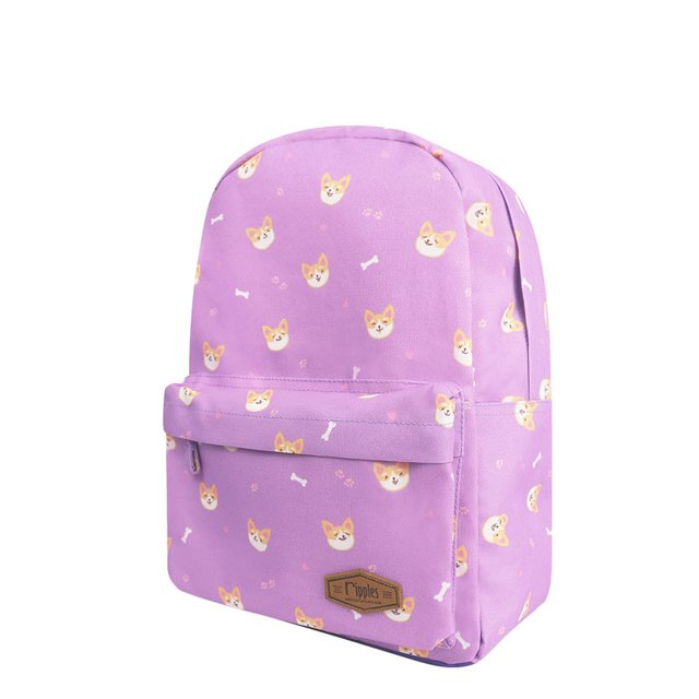 Corgi Dog Mid Sized Kids School Backpack (Lilac Purple)