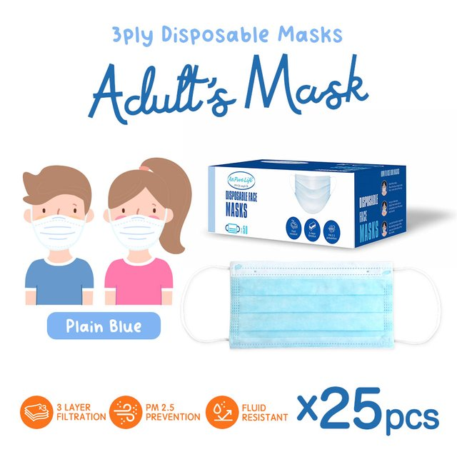 [25pcs] Adults 3 Ply Disposable Face Mask