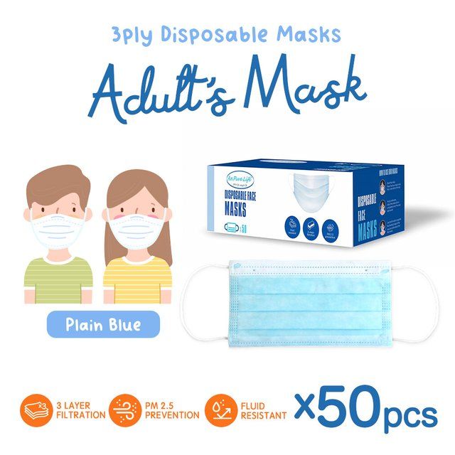 [50pcs] Adults 3 Ply Disposable Face Mask