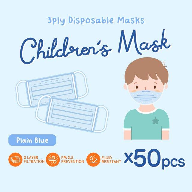 [50pcs] Children 3 Ply Disposable Face Mask (Plain Blue)