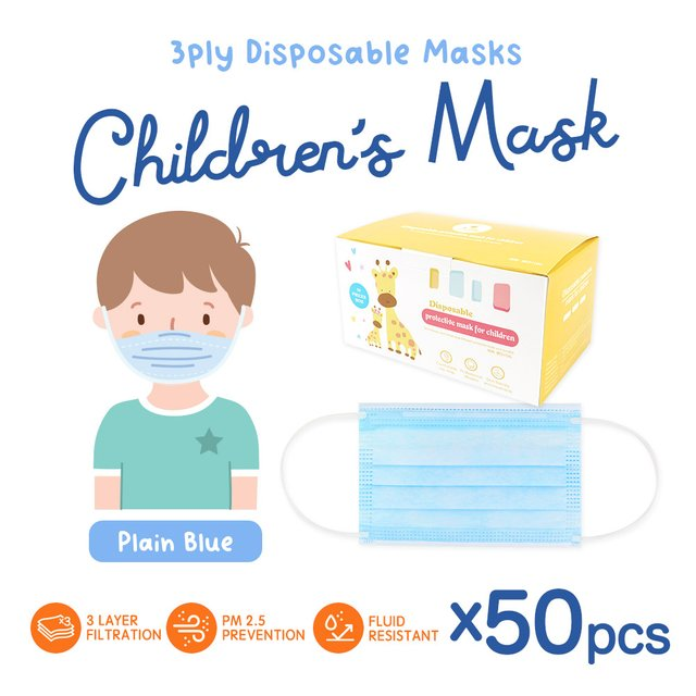 [50pcs] Children 3 Ply Disposable Face Mask (Plain Blue)