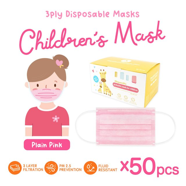 [50pcs] Children 3 Ply Disposable Face Mask (Plain Pink)