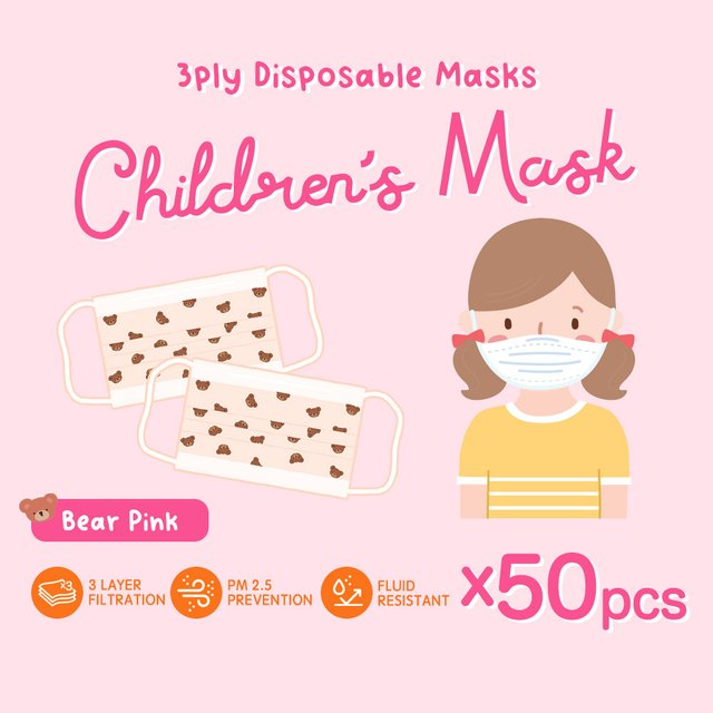 [50pcs] Children 3 Ply Disposable Face Mask (Bear Pink)