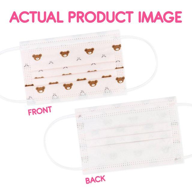 [50pcs] Children 3 Ply Disposable Face Mask (Bear Pink)