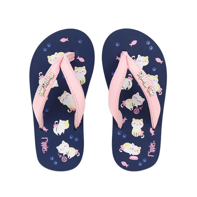 Kittens Little Kids Flip Flops (Navy Blue)
