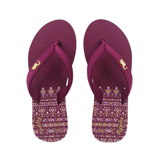 Astrial Aztec Ladies Sandals Mid Wedge (Maroon Purple)