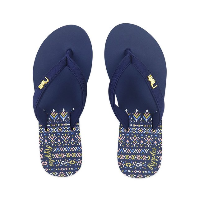 Astrial Aztec Ladies Sandals Mid Wedge (Navy Blue)