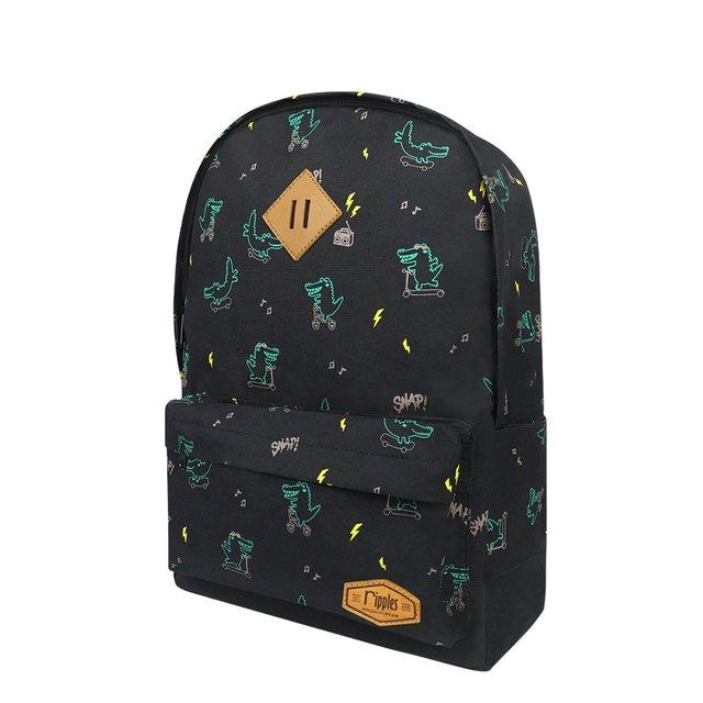 Crocodile School Backpack (Black)