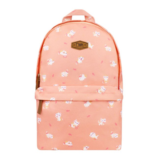 Kittens Digital Print Backpack (Peach)