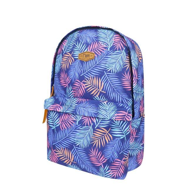 Tropical Leaves Digital Print Backpack (Blue)