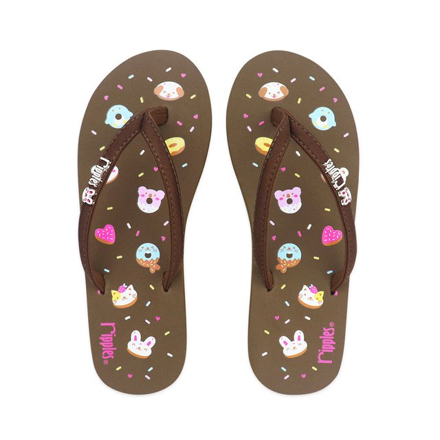 Animal Donuts Ladies Flip Flops (Brown)