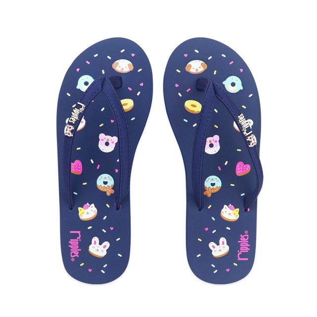 Animal Donuts Ladies Flip Flops (Navy Blue)
