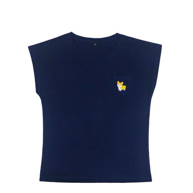 [PROMO] Corgi Dog Ladies Relaxed Short Sleeve Pocket T-Shirt (Navy Blue)