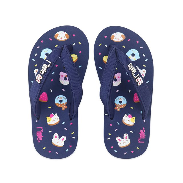 Animal Donuts Little Kids Flip Flops (Navy Blue)