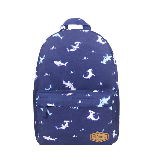 Sharks Mid Sized Kids School Backpack (Navy Blue)