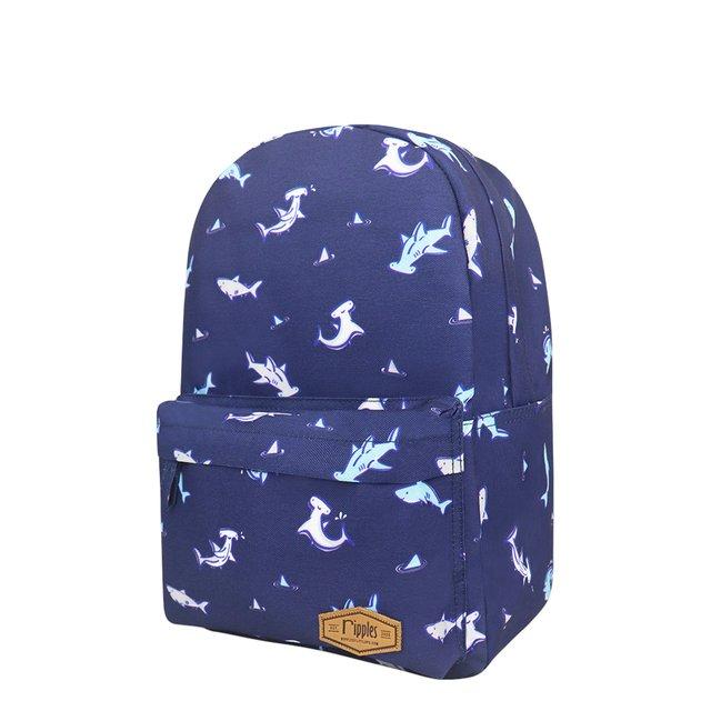 Sharks Mid Sized Kids School Backpack (Navy Blue)